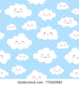 Cute Cartoon Face Cloud Seamless Pattern Background with Dot, Vector illustration
