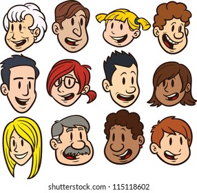 Cute cartoon faces. Clip art vector illustration. Each in a separate layer for easy editing.