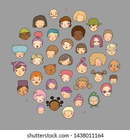 Cute cartoon faces. different nationalities. Avatars of people