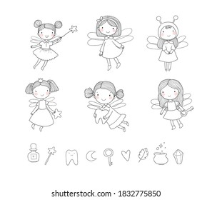 Cute cartoon fairies. Fairy elves. Childrens illustration. tooth fairy