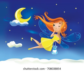 Cute cartoon fairy flies flying against the background of the starry sky