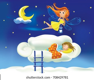 Cute cartoon fairy flies flying against the background of the starry sky above a little girl sleeping on a cloud