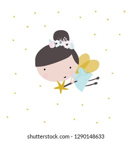 Cute cartoon fairy. Little girl with wings kids print for fabric, nursery, kids apparel, poster, cards, vector illustration