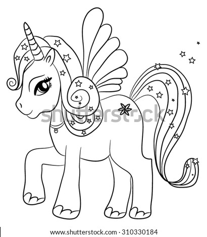 Cute Cartoon Fairytale Unicorn Coloring Page Stock Vector ...