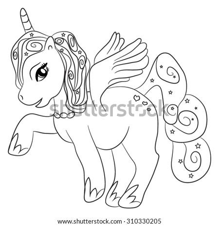 Cute Cartoon Fairytale Unicorn Coloring Page Stock Vector Royalty