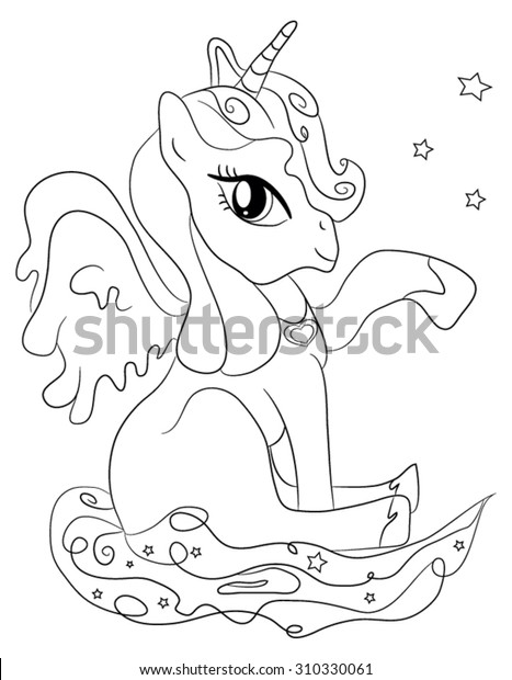 Cute Cartoon Fairytale Unicorn Coloring Page Stock Vector Royalty Free 310330061