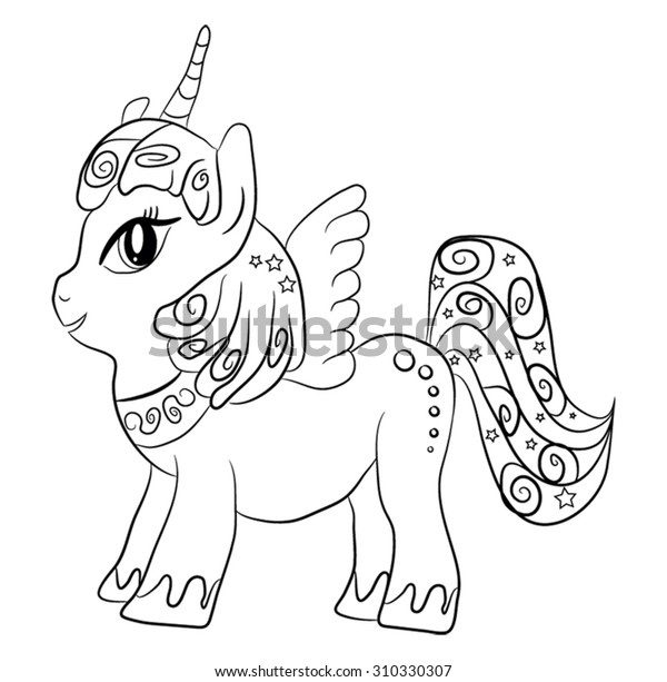Cute Cartoon Fairytale Unicorn Coloring Page Stock ...