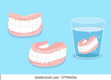 cute cartoon false tooth for your healthy concept