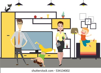 Cute cartoon family - mom, dad,daughter and son in home interior.Vector illustration.