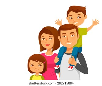 cute cartoon family with two kids