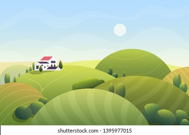 Cute cartoon fantasy summer sunny day with curvy rounded hills and beatuful rural small house, trees, bushes vector illustration.