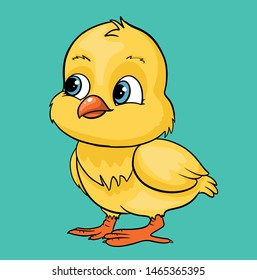 Cute cartoon farm animal baby chick vector illustration