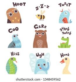 Cute Cartoon Farm Animal Making Sounds Set, Owl, Bee, Bird, Pigeon, Bear, Frog, Snake, Elephant, Goose Saying Vector Illustration