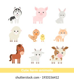 Cute cartoon farm animals set. Vector funny cow, hare, sheep, horse, goat, pig, dog, cat and chicken with baby chick isolated on white. Illustration of simple smiling characters.