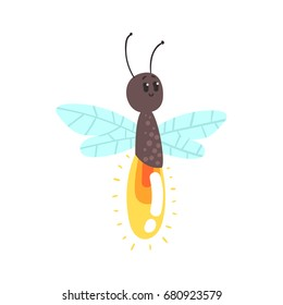 Cute cartoon firefly character vector Illustration