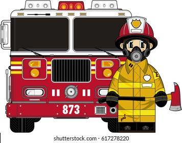 Cute Cartoon Fireman and Fire Engine