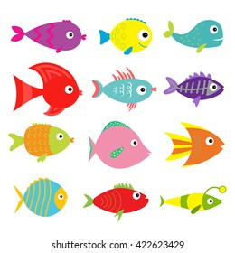 Cute cartoon fish set. Isolated. Baby kids collection. White background. Flat design Vector illustration