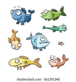 Cute cartoon fishes set  of the different sizes. Doodle style.