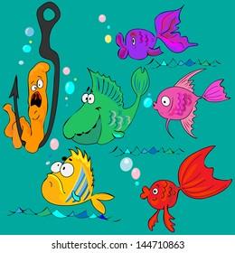 Cute Cartoon Fish.Vector Illustration