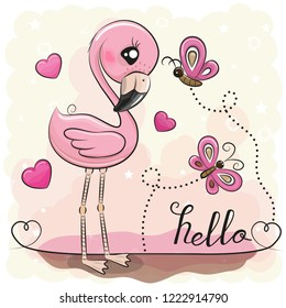 Cute Cartoon Flamingo with hearts and butterflies