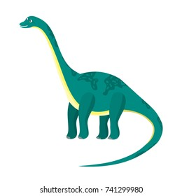 Cute cartoon flat blue or green high diplodocus character. Vector isolated dinosaur with long neck and tail, illustration for kids book, app, advertisement design, label or sticker.