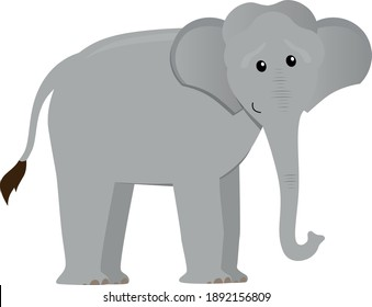 cute cartoon flat elephant from side, vector isolated on white, illustration for children