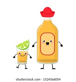 Cute cartoon flat tequila bottle and tequila shot with lime slice vector illustration isolated on white background. Mexican alcohol drink  characters.
