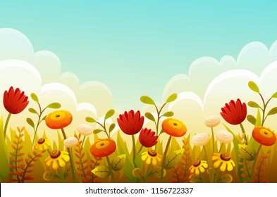 Cute cartoon flowers in grass border. Red tulips, orange and yellow flowers. Autumn scene with blue sky and clouds. Vector illustration.
