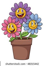 Cute cartoon flowers on a flower pot.