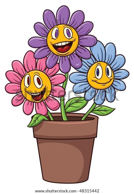 Cute Cartoon Flowers On Flower Pot Stock Vector (Royalty Free ...