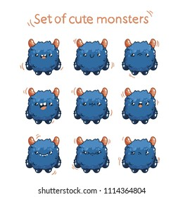 Cute cartoon fluffy monster with different emotions. Character monster for game design.