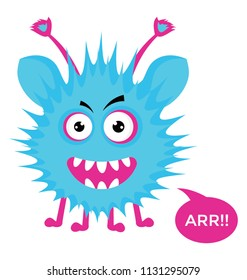 Cute cartoon fluffy monster growling with ARR message bubble, flat vector icon image