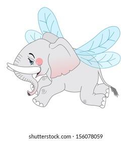 Cute cartoon flying elephant