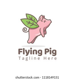 cute cartoon flying pig logo with leaf nature wing