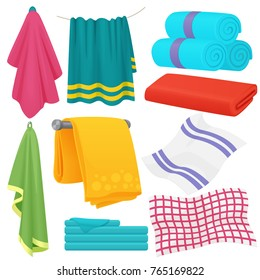 Cute cartoon folded vector towels set.