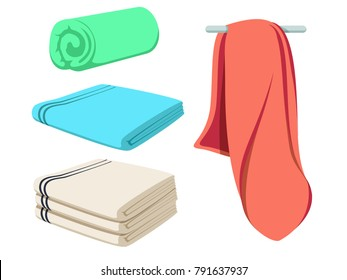Cute cartoon folded vector towels set. Colored and white soft beach towel mockup. Clear wiper. Shaggy fur bath jack-towels from different views. Domestic cloth kitchen objects isolated illustration.