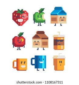 Cute cartoon food characters pixel art funny icon. Strawberry, apple, cup coffee and chocolate milk box isolated vector illustration. 8-bit sprite. Design stickers, logo, mobile app, embroidery.