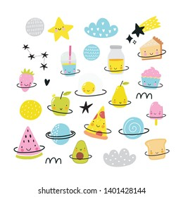 Cute cartoon food in space adventure. Fresh summer print for kids in modern stylle. Vector food, apple, ice cream, pizza, fruit, donut, planet in space.