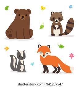 Cute cartoon forest animals: bear, fox, raccoon and skunk. Isolated vector illustration.