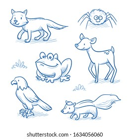 Cute cartoon forest animals for children as wolf, spider, toad, deer, eagle and skunk.  Hand drawn doodle vector illustration.