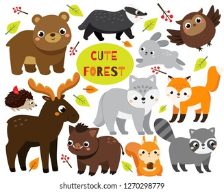 Cute cartoon forest animals set. Woodland wildlife. Badger, raccoon, moose and other wild creatures for kids and children.