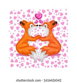 Cute Cartoon Fox Couple Kissing Falling in Love