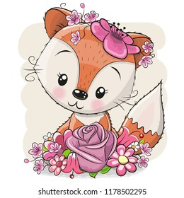Cute Cartoon Fox with flowers on a white background