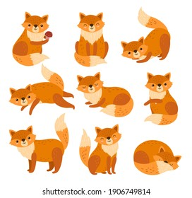 Cute cartoon fox. Forest foxes, red animals with fluffy tails. Flat foxy character running or standing, isolated wildlife symbols exact vector set