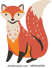 Cute cartoon fox Funny red fox collection.