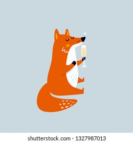 Cute cartoon fox with glass of wine. Print design. Funny animal illustration. Perfect for t-shirt, card, print, textile, poster. Vector