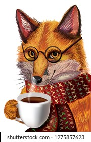 cute cartoon fox with glasses. Fox drinking hot coffee winter background. Character fox. Good fox for destgn.