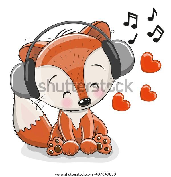 Cute cartoon Fox with headphones and hearts