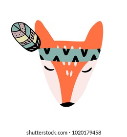 Cute Cartoon Fox with Indian Feather Headpiece Vector Illustration