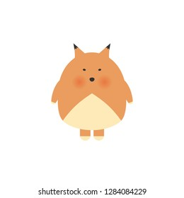 Cute cartoon fox in modern simple flat style. Sweet baby boy shower card. Cool and lovely fox illustration for t-shirt, kids apparel, invitation, simple child design